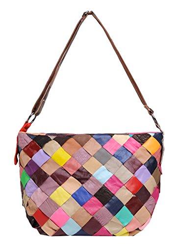 Heshe Lady's Cow Leather Casual Fashion Contrast Color Shoulder Crossbody Bag Satchel Purse Handbag for Women