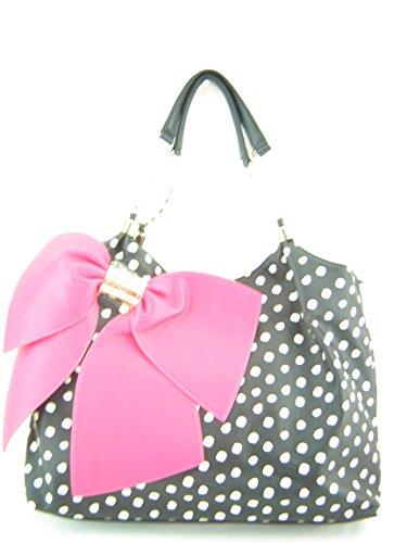 Betsey Johnson Bow Licious Satchel Handbag Black Multi
