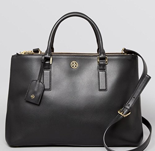 Tory Burch Robinson Double-Zip Leather Tote Black Saffiano Leather