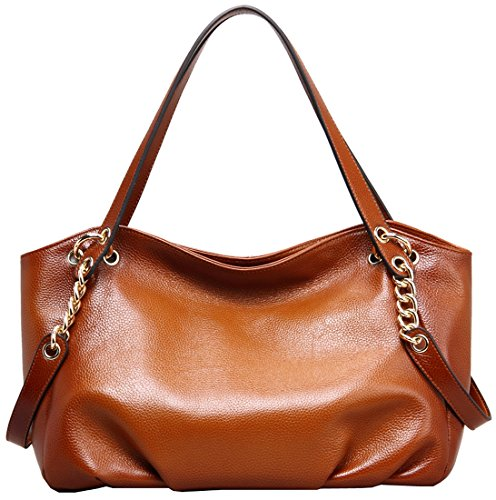 Heshe® Luxury New Fashion Lady Soft Leather Cowhide Vintage Shoulder Bag Handbag Tote Top-handle Purse Cross Body Big Capacity Casual Simple Style with Chain
