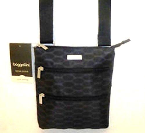 Baggallini Triple Zip Bagg Crossbody Travel Pack Handbag (Black Bubble Pattern)