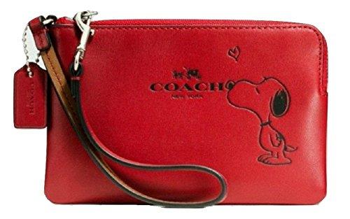 Coach X Peanuts Snoopy Corner Zip Wristlet Calf Leather Classic Red F65193