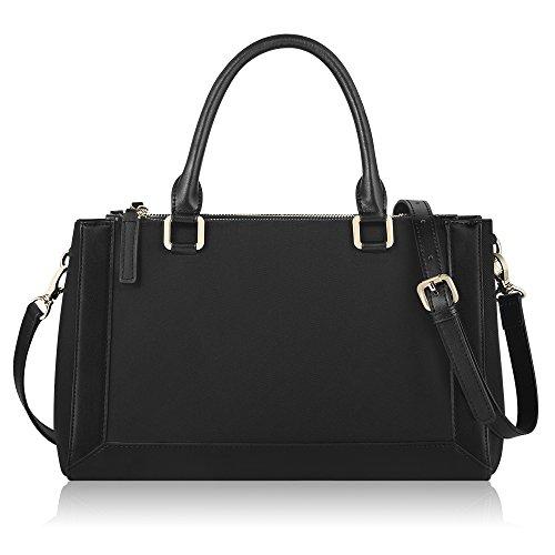 CHICECO Preppy Multi-pockets Saffiano Bag Satchel Crossbody Handbag – Black