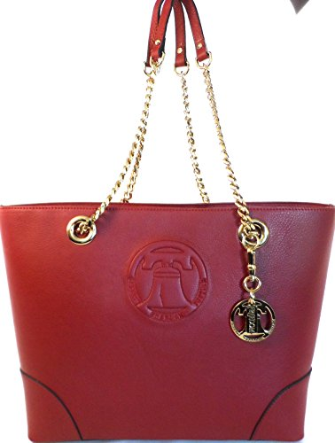 Sylvia Noster Women's Madison with Embossed Liberty Bell Motif Red Leather Chain Tote