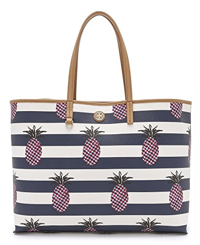 Tory Burch Kerrington Tote Multicolor Handbag Shopper Pineapple Stripe Large