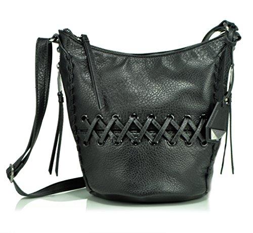 Jessica Simpson Tyson Whipstitch Small Hobo Cross Body Handbag, Black