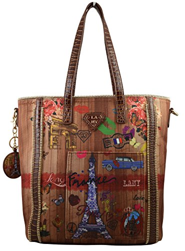 Paparazzo Collection By Lany Paris France Print Tote Hobo Bag-Vegan Leather
