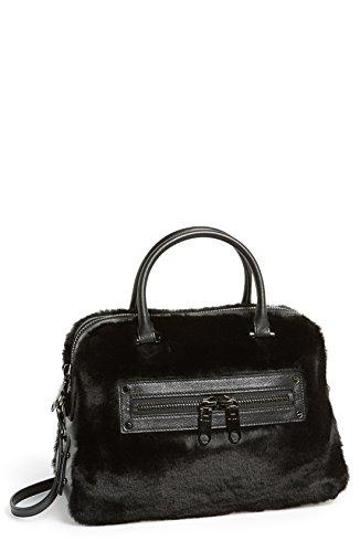 Milly Skylar Satchel Black Leather Faux Fur