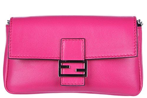 Fendi women's clutch handbag purse with shoulder strap original micro baguette fucsia