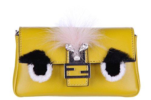 Fendi women's clutch handbag purse with shoulder strap original micro baguette crystal bugs yellow