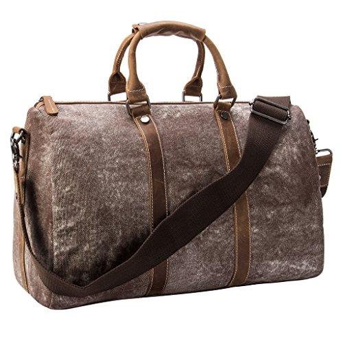 Tmount Unique Vintage Canvas Leather Duffel Bag Travel Tote Bag
