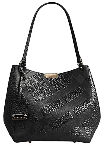 Burberry Canterbury Black Embossed Check Leather Tote