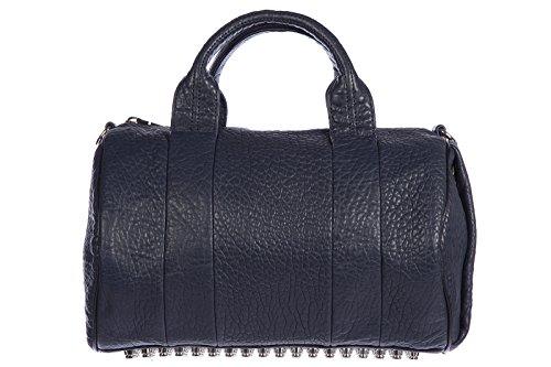 Alexander Wang women's leather handbag barrel bag purse vintage neptune studs blu