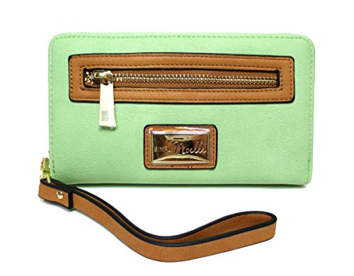 Noelle Vegan Faux Leather Colorful Zippered Wristlet Wallet in Melon Green