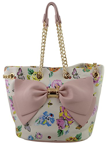 Betsey Johnson Always Hopeless Romantic Bucket in White Floral with Bow