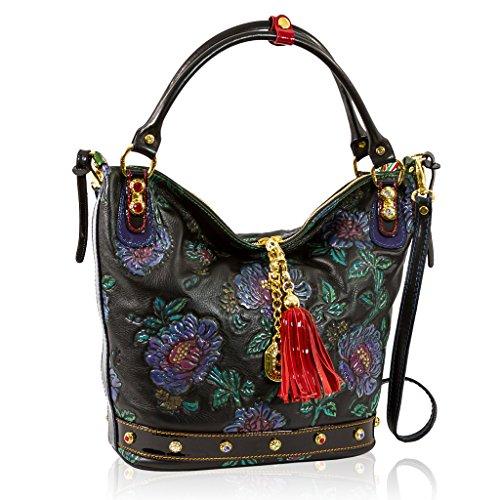 Marino Orlandi Italian Designer Black Handpainted Roses Leather Large Purse  Bag d7ae91fd1d62b