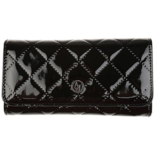 Armani Jeans Women's Quilted Logo Front Wallet Black