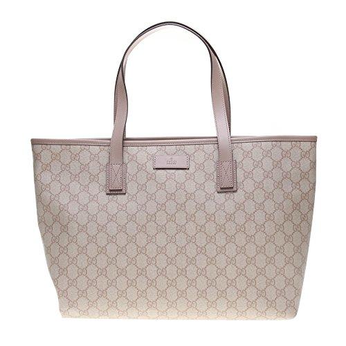 Gucci Supreme Canvas and Leather Zip Top Handle Bag Shoulder Tote Handbag 211137