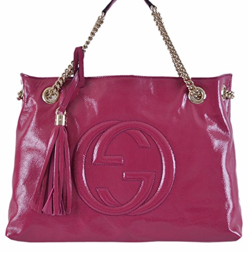 Gucci Women's Pink Patent Leather Chain Strap Soho Purse