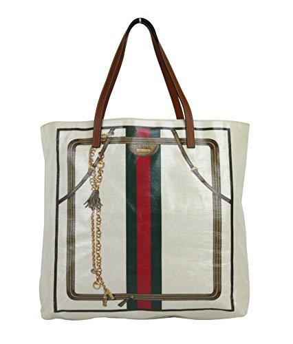 Gucci Unisex Signature Web Crystal Canvas Tote Bag Handbag 295252 9575