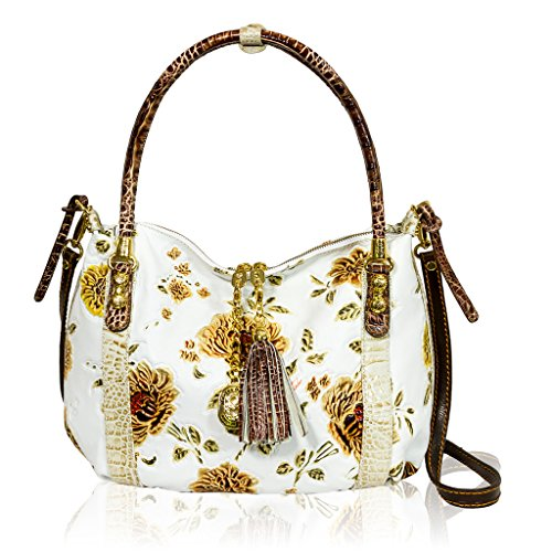 Marino Orlandi Italian Designer White Handpainted Roses Leather Large Purse Bag