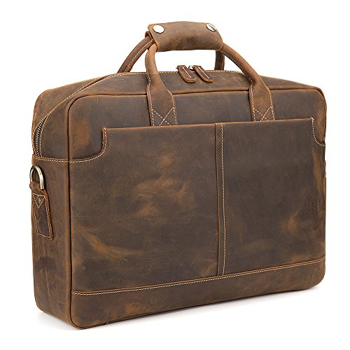 Kattee Vintage Simple Look Real Leather 17″Laptop Briefcase Shoulder Bag Tote