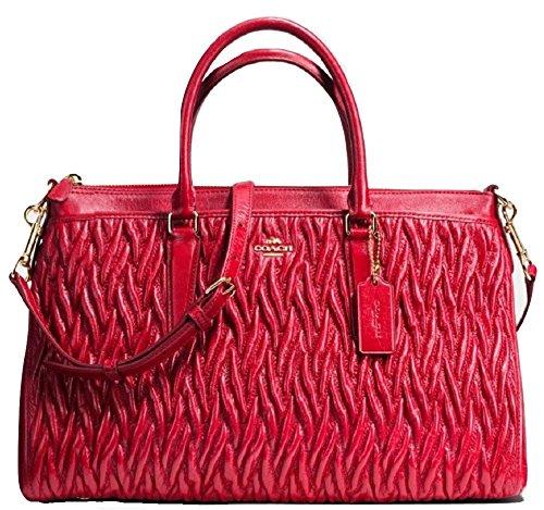 Coach Morgan Satchel in Patchwork Twist Leather Shoulder Handbag in Classic Red F37083