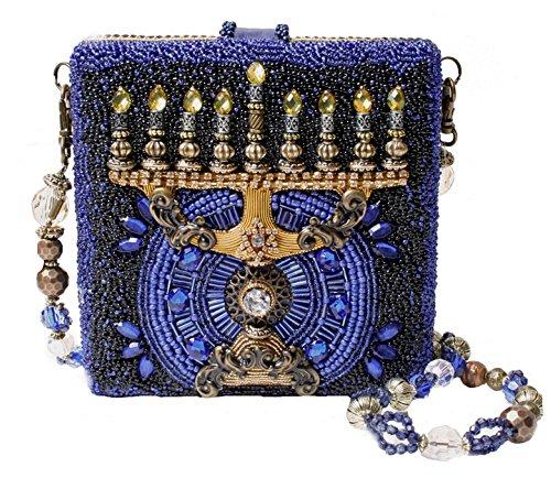 Mary Frances Hanukkah Beaded Sequin Menora Holiday Festival of Lights Clutch Shoulder