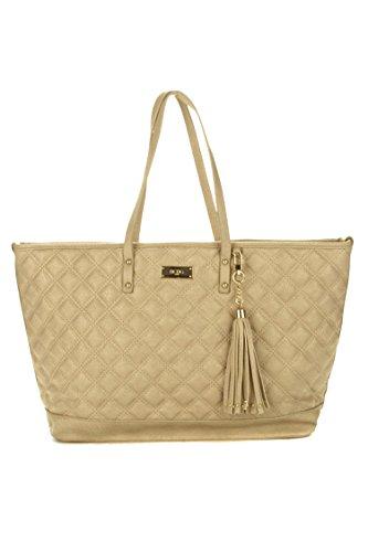 BCBG Quilted TOTE Handbag Tan/Beige