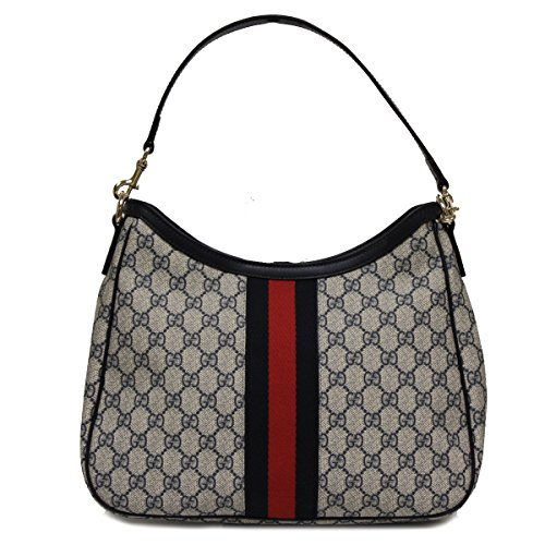 Gucci Supreme Canvas and Leather Navy Blue Hobo Shoulder Bag 388921