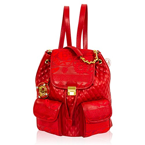 Valentino Orlandi Italian Designer Red Quilted Leather Purse Backpack Sling