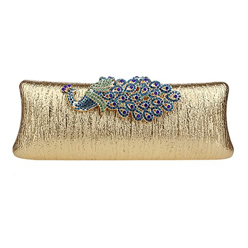 Mlotus Women's Rhinestone Peacock Clasp Evening Bag Wedding Cocktail Clutch Purse