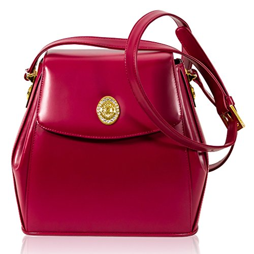 Valentino Orlandi Italian Designer Pink Leather Box Purse Mini Messenger Bag