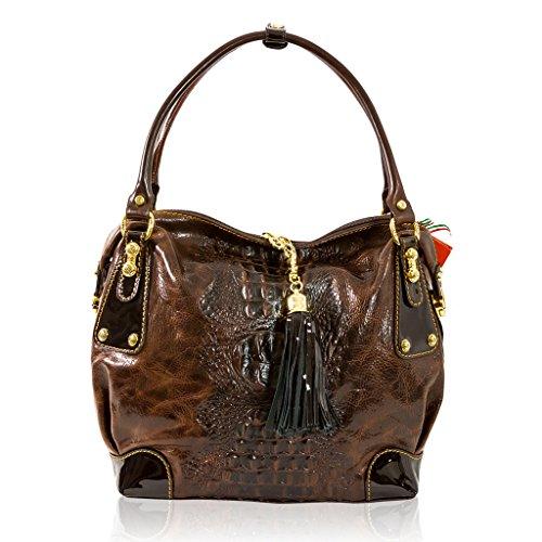Marino Orlandi Italian Designer Brown Alligator Leather Large Purse Slouchy Bag