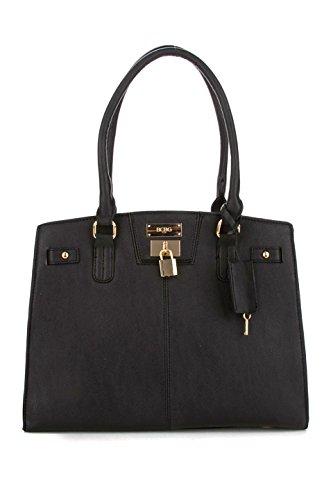 BCBG Handbags – BCBG Paris Chic Story Lock Tote – Black