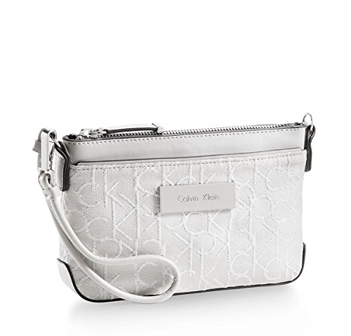 Calvin Klein Womens Candice Capacity Signature Wallet Wristlet Ice Grey