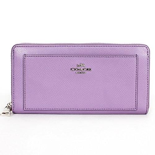Coach 52648 Crossgrain Leather Accordion Zip Around Wallet Purple Lilac