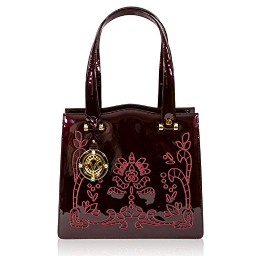 Valentino Orlandi Italian Designer Burgundy Embroidered Leather Satchel Purse