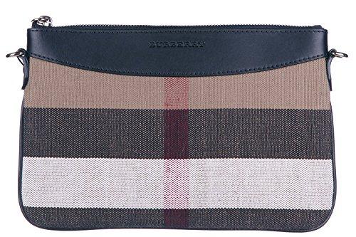 Burberry women's clutch handbag purse with shoulder strap original check black