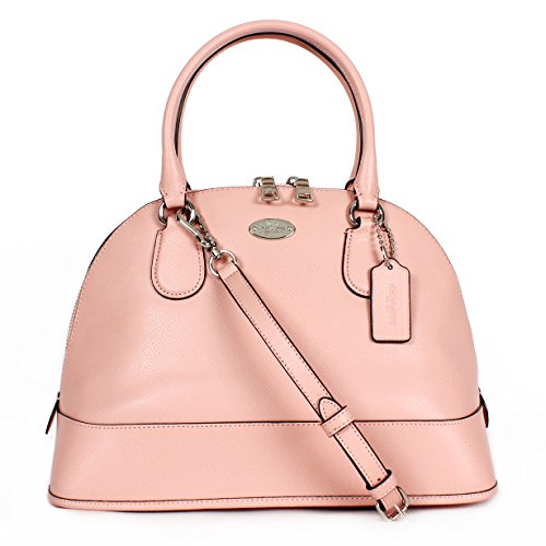 Coach F33909 Crossgrain Leather Cora Domed Satchel Handbag Blush