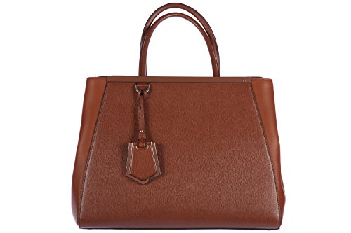 Fendi women's leather handbag shopping bag purse 2jours regular calfskin elite brown
