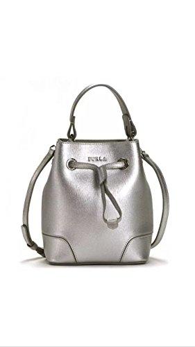 Furla Stacy Mini Drawstring Crossbody Handbag Silver
