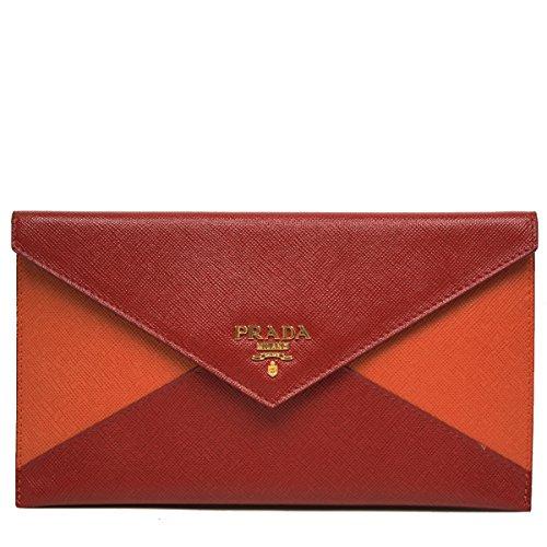 Prada Color Block Red & Orange Saffiano Leather Letter Clutch Handbag Wallet Bag 1M1175