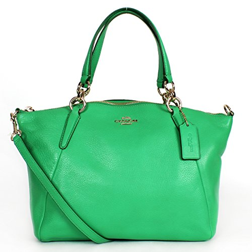 Coach Pebbled Leather Small Kelsey Satchel Cross Body Bag Green