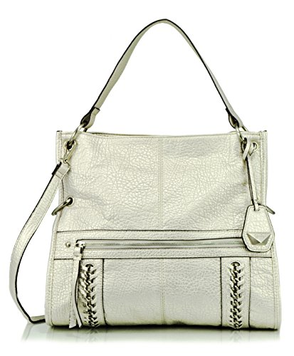 Jessica Simpson Cindy Foldover Convertible Cross Body Bag, Light Silver, One Size