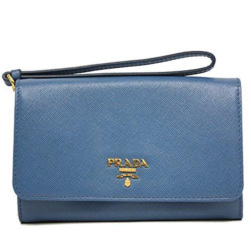 Prada Blue Saffiano Textured Leather Wristlet Wallet Bag 1M1438