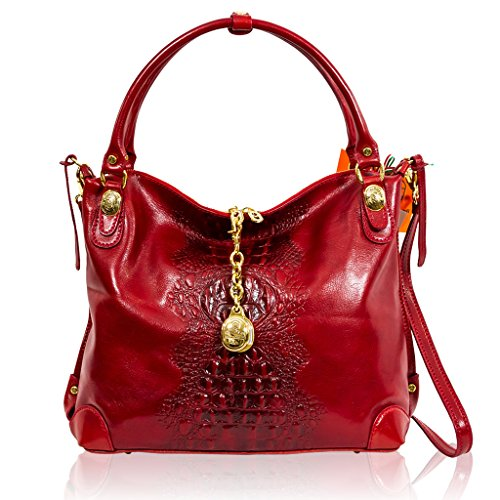Marino Orlandi Italian Designer Red Alligator Leather Large Purse Crossbody Bag