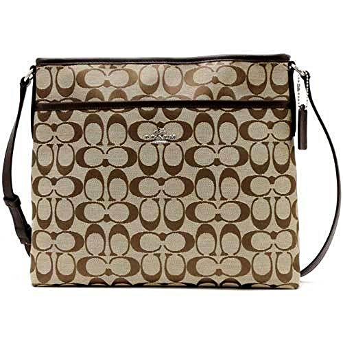 Coach Signature File Crossbody Handbag 36378 Khacki / Mohogany