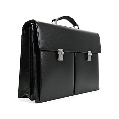 MONTBLANC®, GENUINE Leather Double Gusset Briefcase / Attaché / Satchel w/ Detachable Shoulder Strap. Made in GERMANY