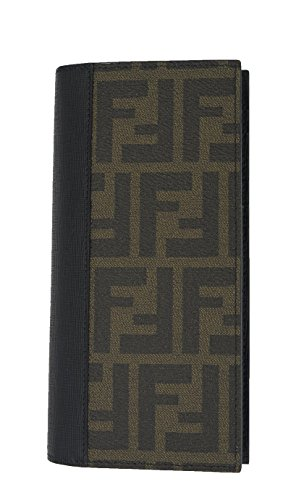 FENDI Italy Brown Zucca Print Logo Bifold Continental Wallet